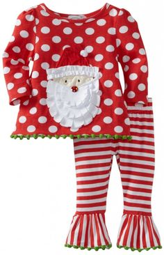 79f8af902 Mud Pie Baby-Girls Infant Santa Tunic And Leggings Set, Multi Colored, - -  2 piece set includes polka dot top with santa applique and contrasting  stripe pan