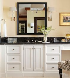 As timeless and classy as a tuxedo, black marble countertops shine when paired with white vanity cabinets. Opt for polished marble if you want a high-end look; honed or tumbled finishes work nicely in casual, country, and cottage bathrooms. /