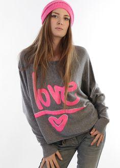 Pullover Kaschmir Love grau-pink: HEADHUNTER