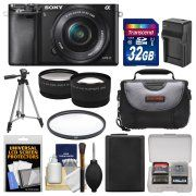 Sony Alpha A6000 Wi-Fi Digital Camera & 16-50mm Lens with 32GB Card   Case   Battery/Charger   Tripod   Filter   Tele/Wide Lens Kit