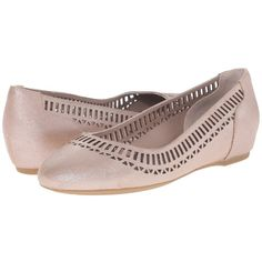 Rockport Total Motion 20mm Lazer Cutout Ballet (Warm Taupe/Silver... ($110) ❤ liked on Polyvore featuring shoes, flats, silver ballet flats, ballerina flats, slip-on shoes, ballet flat shoes and ballet shoes