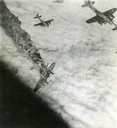 """B-17 G """" Powerful Poodle """" takes a direct hit from flak over Ludwigshafen Germany during her tenth and last sortie. She went down at 11:25 Nov 5 1944 all of the crew were killed. Note the bombs falling from the plane above her. It was not unknown for bombs and planes to stray into paths of contact with disastrous results"""