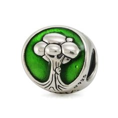 """I Love Nature   Declare your love for mother nature with our flora and fauna flip bead featuring an embossed tree with green enamel background, and on the back side, the words """"I love nature""""."""