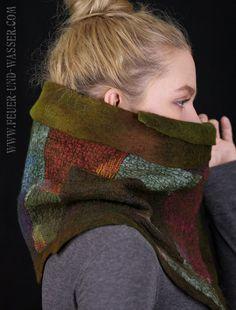 Nuno felted scarves Felted Scarf Felt Cowl by FeuerUndWasser