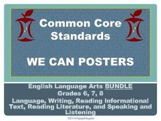 Common Core Standards for ELA  Posters - BUNDLE. Common core standards for ELA  grades 6, 7, and 8 summarized. Use as WE CAN posters or as a slide show. You can go over the standards with your students, and afterwards you can print out the slides and laminate them to use as a poster in your classroom.