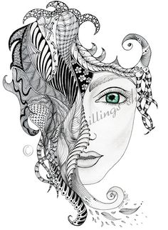Hey, I found this really awesome Etsy listing at https://www.etsy.com/listing/207533763/original-zentangle-art-chica-print-a4a3