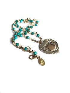 Boho Turquoise Necklace Vintage Watch Fob by FribblePistol on Etsy