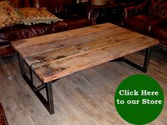 salvaged reclaimed wood and metal coffee table  #LiquidGoldSalvagedWood