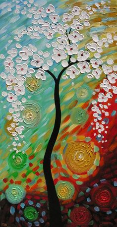 ORIGINAL Oil Painting Day Dreaming 45 x 23 Palette Knife Colorful Textured Abstract Tree White Red Green ART by Marchella. $265.00, via Etsy.: