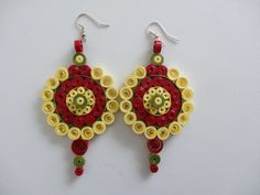 Yellow paper quilled earrings.