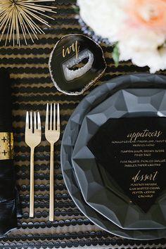 Gold Calligraphy Escort Card on a Crystal Geode | Erin Hearts Court Photography | Modern Gemstone Wedding Ideas