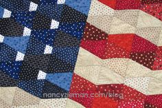 Patriotic Tumbler Flag Quilt using Grandmother's One Patch Template by Nancy Zieman