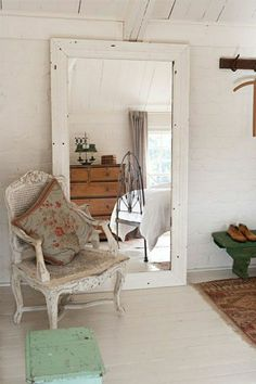 great white vintage mirror frame chair cushion chest bench carpet white walls