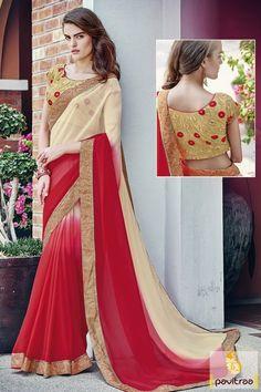 Cream and Red Color Art Silk Border#Saree #PartyWearSaree #Saree #IndianPartyWearDesignerSaree #Latest2016PartyWearSareecollection  More: http://www.pavitraa.in/catalogs/heavy-embroidered-worked-art-silk-sarees/?utm_source=hp&utm_medium=pinterestpost&utm_campaign=23Oct