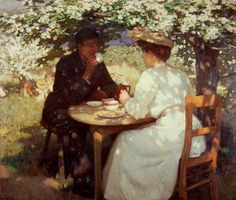 Harold Knight (English portrait, genre and landscape painter) 1874 - 1961 In the Spring Time, oil on canvas x cm. Mary Cassatt, John Hanson, Tableaux Vivants, Pintura Exterior, The Last Summer, Tea Art, Art Uk, Classical Art, French Artists