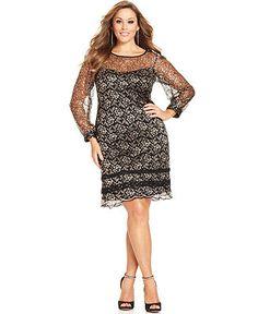 SL Fashions Plus Size Dress, Long-Sleeve Illusion Lace - Plus Size Dresses - Plus Sizes - Macy's