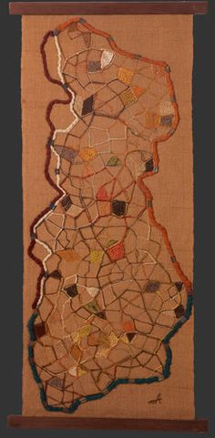 Babble, ca 1955.  Mixed fibers and metal on mixed fibers with wooden slats, approx. 35 1/4 x 16 1/2(slat) and 14 1/8 (textile) inches. Cat. no. 144. (UGA)