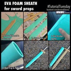 How to make a simple sword sheath. For a stronger sheath use the foam the same as a base then coat with elmers glue to seal and add a few layers of paper mache, then paint and seal it.
