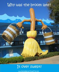 Silly Joke: Q: Why was the broom late? A: It over swept! / Photo: These brooms are on the Fantasia buildings at Disney's All-Star Movies Resort at Disney World. For more resort photos & information, s Funny Pictures Of Women, Funny Quotes For Kids, Jokes For Kids, Guy Pictures, Silly Jokes, Dad Jokes, Funny Jokes, Hilarious, Funny Babies