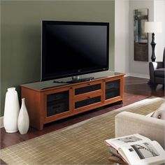 Novia LCD/Plasma Glass Top TV Stand in Natural Stained Cherry - 8429-2 CH