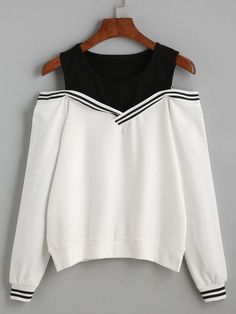 Shop Varsity Striped Contrast Open Shoulder Sweatshirt online. SheIn offers Varsity Striped Contrast Open Shoulder Sweatshirt & more to fit your fashionable needs.