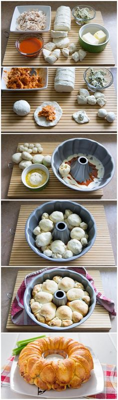 Buffalo Chicken Monkey Bread Recipe Ingredients: 2 cans oz each) Pillsbury® Country Style® refrigerated biscuits 2 cups shredded cooked chicken breast cup buffalo wing sauce cup blue c… Great Recipes, Favorite Recipes, Easy Recipes, Pan Relleno, Cooking Chicken To Shred, Cooked Chicken, Snacks Für Party, Monkey Bread, Football Food