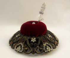 Bejeweled Pincushion Red Velvet Pin Keeper by practicalelegance
