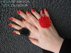 Tulossa myytiin pian ihania isoja sormuksia <3 #rings #statement #flowers #black #red #colors #roses