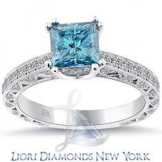 1.75 CT. Fancy Blue Princess Cut Diamond Engagement Ring 18K Gold Vintage Style - Fancy Color Engagement Rings - Engagement - Lioridiamonds.com