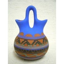 Native American Navajo Red Clay Wedding Vase--Squat