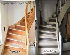 Treppenrenovierung mit Laminatstufen, Stufendekor weißer Nussbaum und graue Setzstufen sowie indirekte LED-Beleuchtung
