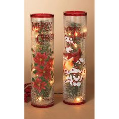 Gerson 16 in. Electric Crackle Glass Holiday Tabletop Decor - Set of 2 - 2155480