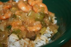 An easy shortcut cheater etouffee that uses cream soup as a roux shortcut and works well for both shrimp and crawfish.