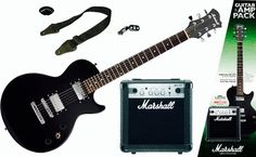 Marshall Guitar Pack  THE PACK INCLUDES: Marshall electric guitar. (right handed model for illustration only) Marshall MG 10 Watt amp (MG10CF). Marshall guitar gig bag. Marshall guitar strap. Exclusive online guitar tutorials. Chromatic guitar tuner. Guitar lead. 5 x Marshall plectrums.