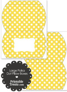 Large Yellow and White Polka Dot Pillow Box from PrintableTreats.com