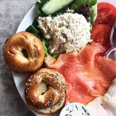Traditional Nova Lox Platter (with house-made bagels, sliced tomato, onion and assorted cream cheeses.)