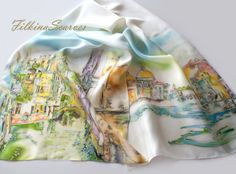 Bridge in Venice 2 Silk Scarf Hand Painted Scarf Silk Chiffon Green Blue Magenta Urbanscape Art Scarf Batik Silk Painting Birthday Gift Are you dreaming of romantic trip to magical Venice or you have been there already?  I hand painted on silk another one of the Bridges in Venice that embody the citys beauty and the history, so Venice can be with you always. First sketch the contours of the drawing with beeswax and then paint on silk with special dyes for silk painting.  Gentle and elegant…