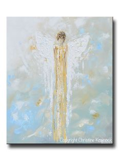 Angel of Light - Giclee Print of original art, abstract, angel painting depicting guardian angel lit in shades of gold calmly watching over and providing peace. Fine art, abstract, guardian angel painting depicting heavenly angel watching over & protecting. Select Paper Print or Canvas Print of this stunning, abstract, guardian angel painting. This hand-painted, contemporary, spiritual painting possesses not only a comforting sense of peace and calm, but with its soothing, earthy shades o...