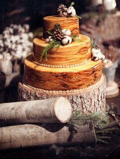 Pine Cones, Cotton, Evergreens - Wood Log Winter Wedding Cake - amazing!