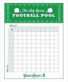 Free Super Bowl Pool Templates