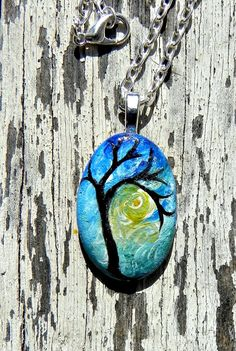 Hand painted TREE Stone Necklace Pendant by Artbycarriepaquette, $22.00