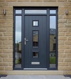 Grey windows, front doors with windows, porch doors, front door porch, fron Upvc Front Door, Entry Doors, Glass Panel Door, Farmhouse Doors, Front Entry Doors, House Front, Grey Front Doors, Front Door Design, House Exterior
