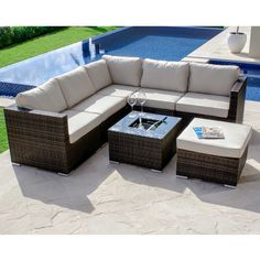 Westbourne Garden Corner Group With Inset Ice Bucket Coffee Table Brown Available Online At Barker