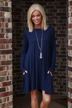 93131912f42f One Faith Boutique - Pure Essence Long Sleeve Dress With Pockets ~ Navy ~  Sizes 4