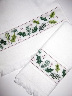 my holly towel cross stitch Cross Stitch Borders, Cross Stitches, Happy Holidays, Christmas Holidays, Christmas Towels, Christmas Cross, Elsa, Embroidery, Illustration