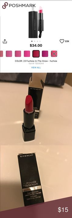 GIVENCHY Rouge Interdit Satin Lipstick- 23 Fuchsia NEW never used with box. Size 1.3g. Satin finish. Price firm unless bundle. Bundle with 3 or more items and get 10% off. Givenchy Makeup Lipstick