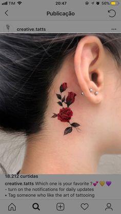 tattoos for women meaningful Mini Tattoos, Trendy Tattoos, Rose Tattoos, Flower Tattoos, Body Art Tattoos, Small Tattoos, Tattoos For Women, Tattoos For Guys, Ear Tattoos
