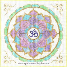 "Spiritual needlepoint - Lotus Petal Mandala, hand-painted, 9"" x 9"" on 13 mesh canvas, made in Sedona, Arizona"