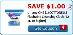 New Coupon!  Save $1.00 on any ONE (1) COTTONELLE Flushable Cleansing Cloth (42 ct. or higher) - http://www.stacyssavings.com/new-coupon-save-1-00-on-any-one-1-cottonelle-flushable-cleansing-cloth-42-ct-or-higher-2/