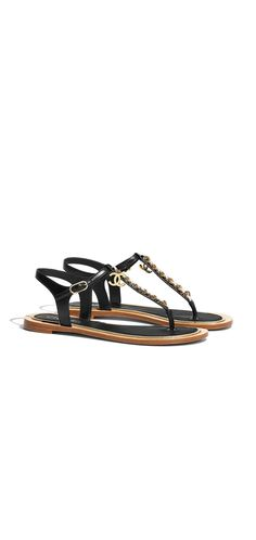 Sandals, lambskin-black & white - CHANEL